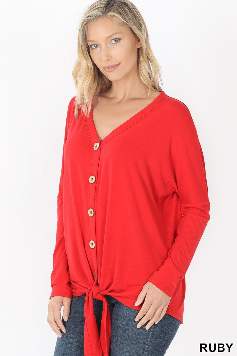 Zenana Button Down Tie Front Top