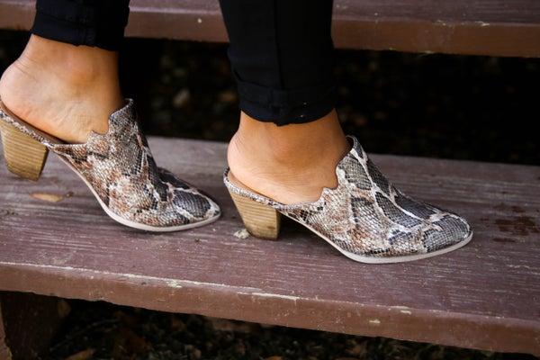 Corkys' Trendy Snakeskin Mules
