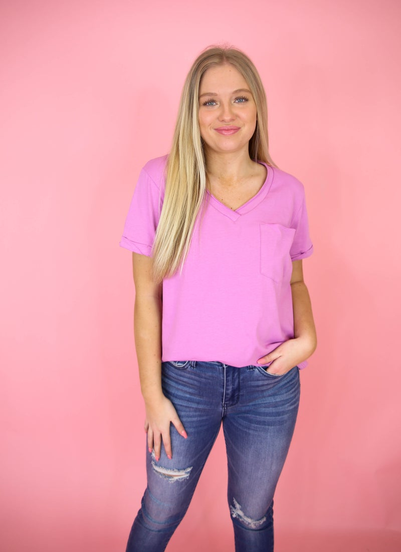 Maddie's Favorite Basic V-Neck Top