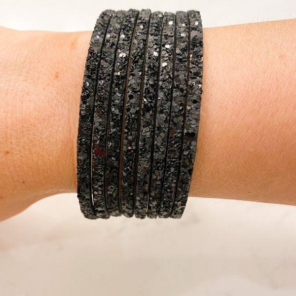 Glitter Leather Bracelet