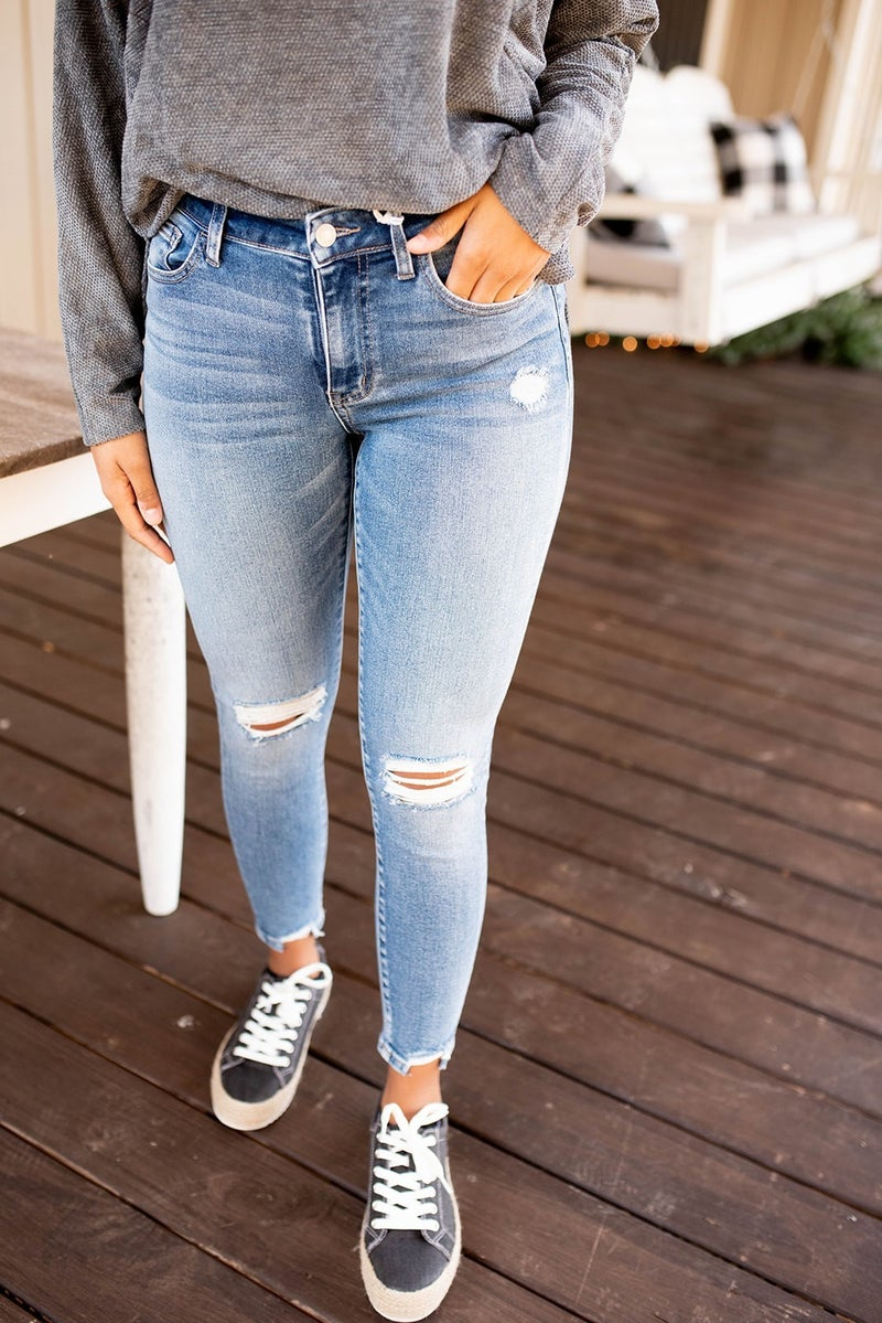 The Amber Distressed Midrise Jeans