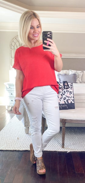 YMI Royalty Full Length White Distressed Jeans