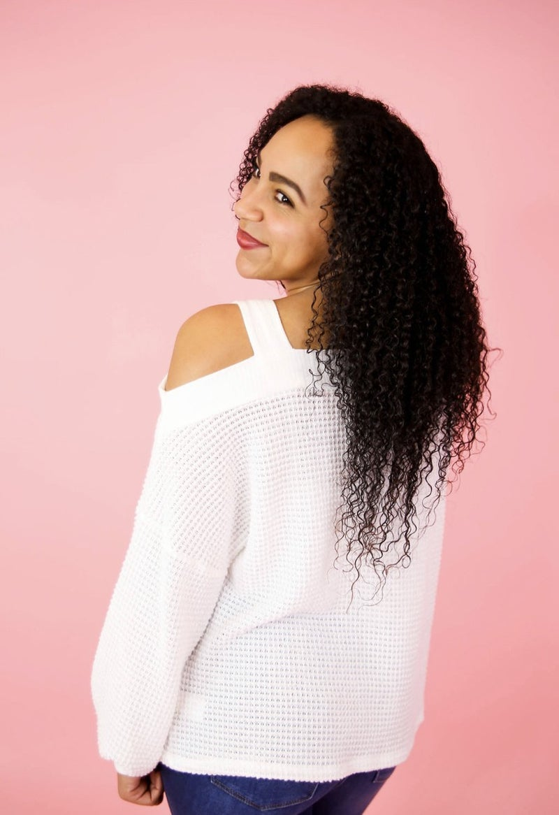 Lena's Off The Shoulder Waffle Knit Top