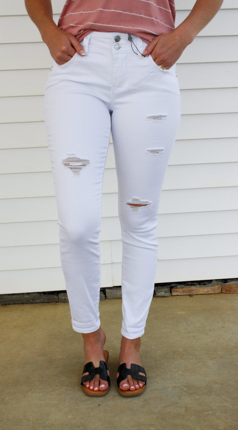 Distressed White YMI High Rise Jeans