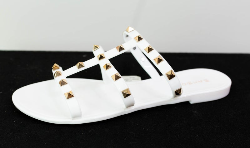 White Valentino Inspired Jelly Flat Sandals
