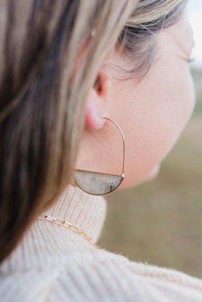 Natural Stone Half Circle Dangle Earrings