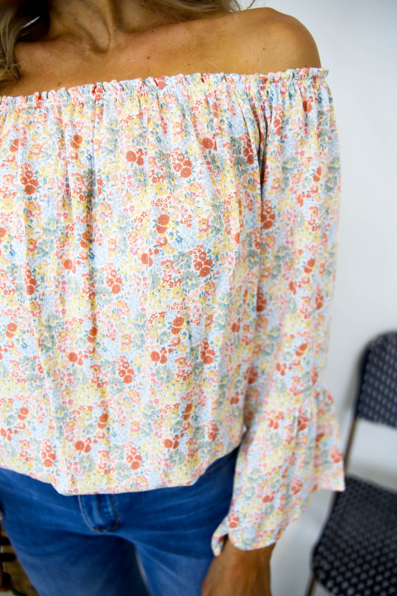 Pretty in Floral Off the Shoulder Top
