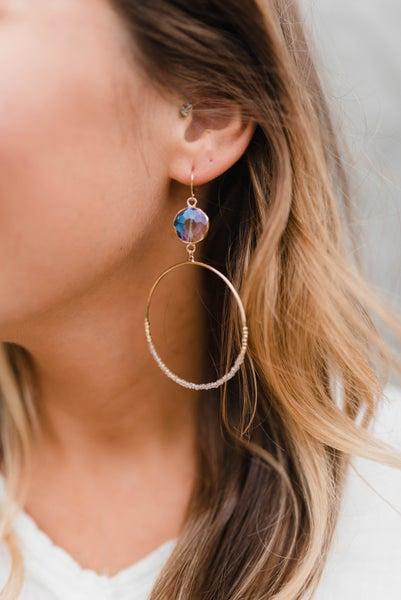 Metal Faceted Seed Beaded Round Earrings *Final Sale*