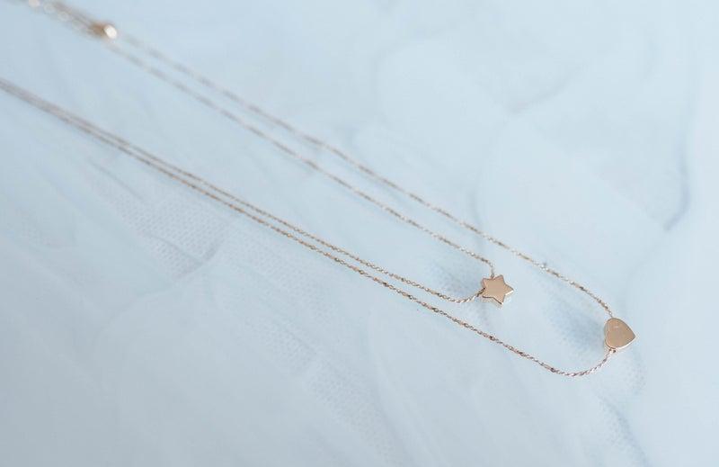 Metal Celestial Star Heart Necklace