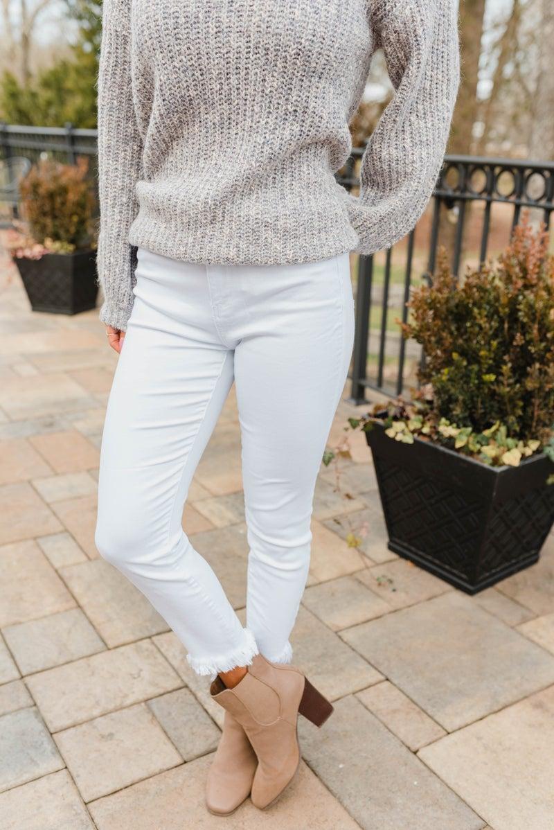 White Tulip Crop Skinny Cello Jeans