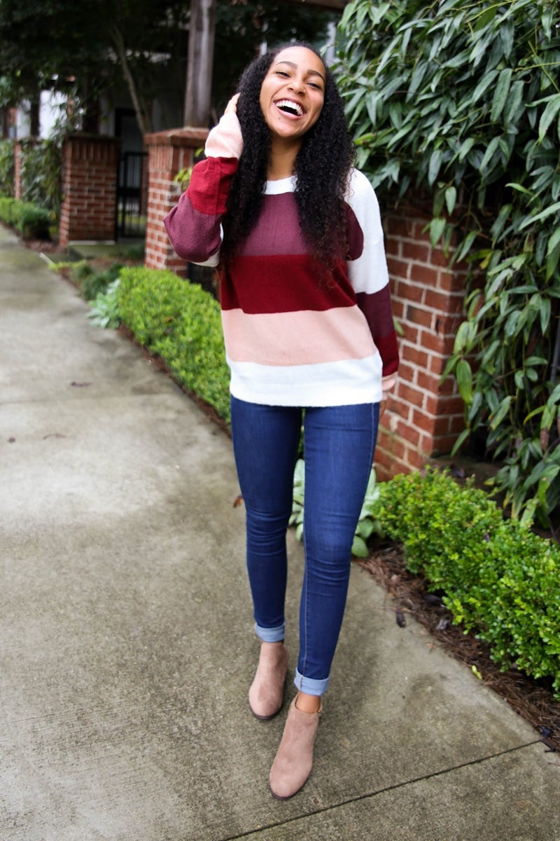The Ruby Color Block Sweater