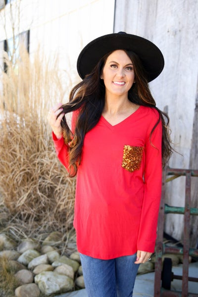 Red Hot Sequin Top - Hot Pink Deal! $17.99! *Final Sale*