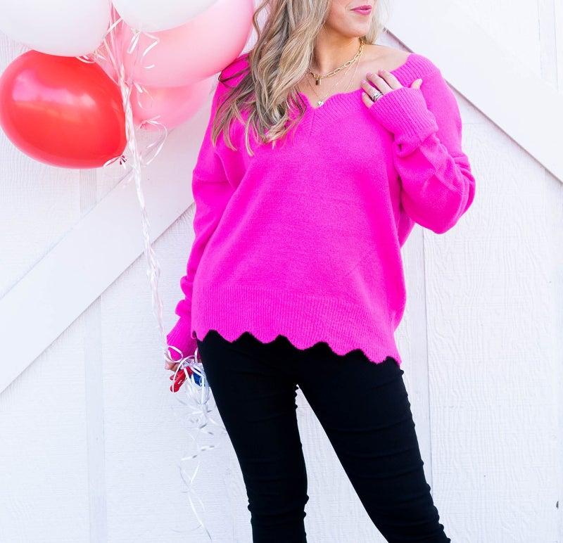 Scalloped Sweetheart Sweater