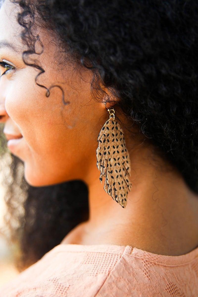 Cork Fringe Earrings *Final Sale*
