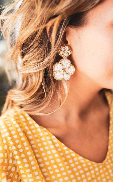 Double Flower Bead Earrings