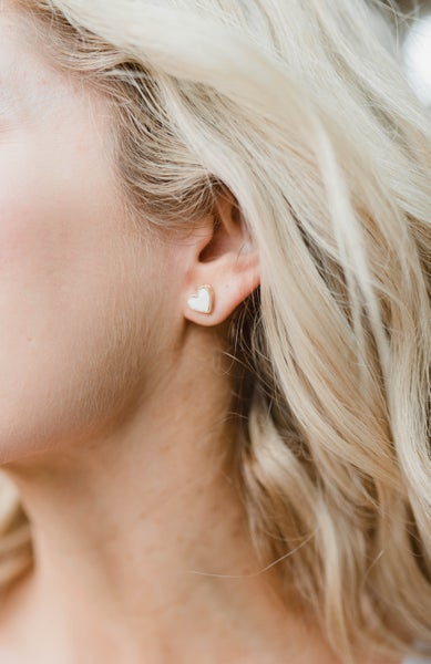 Mother of Pearl Heart Earrings - Black Friday