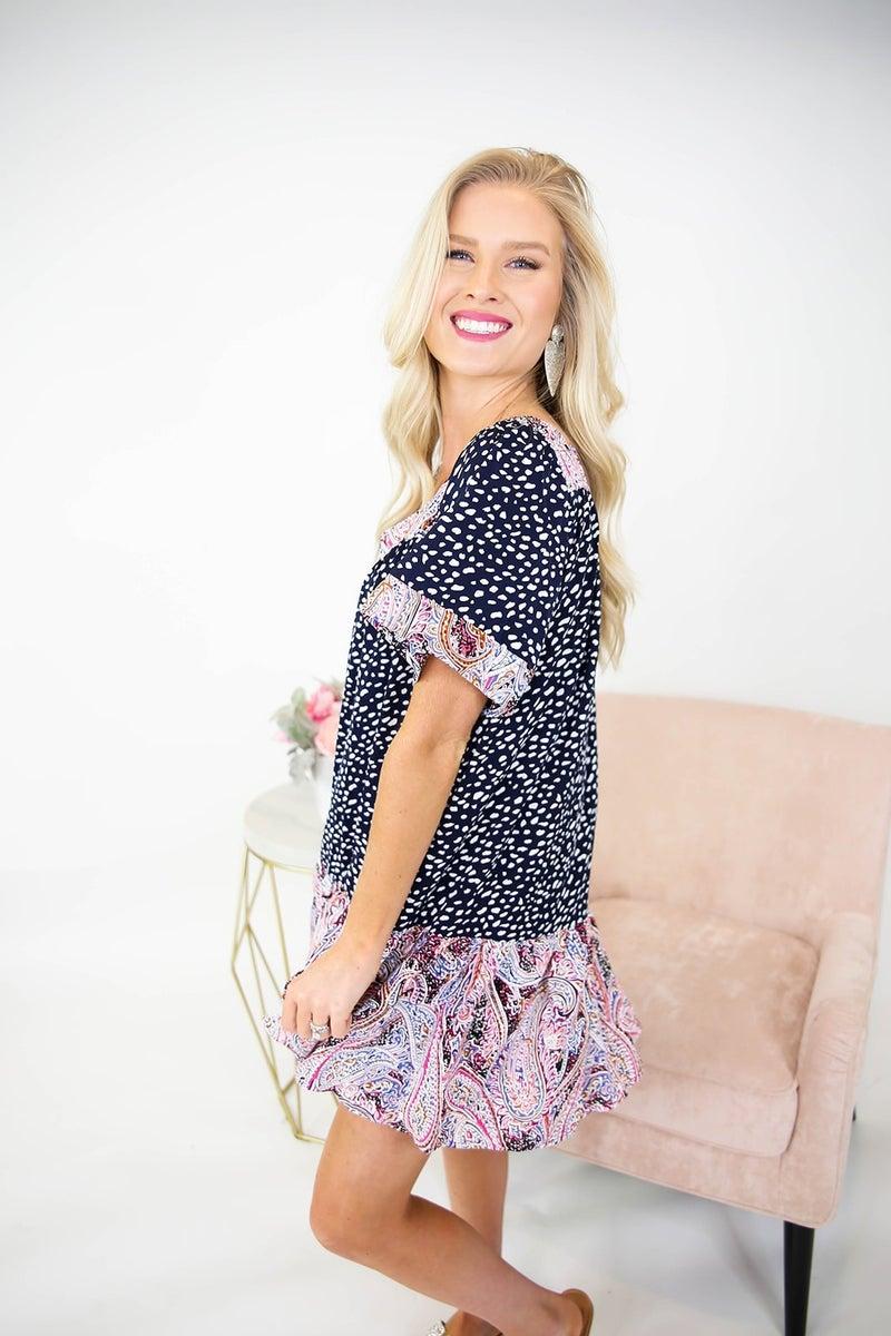 Mixed Print Paisley Dress