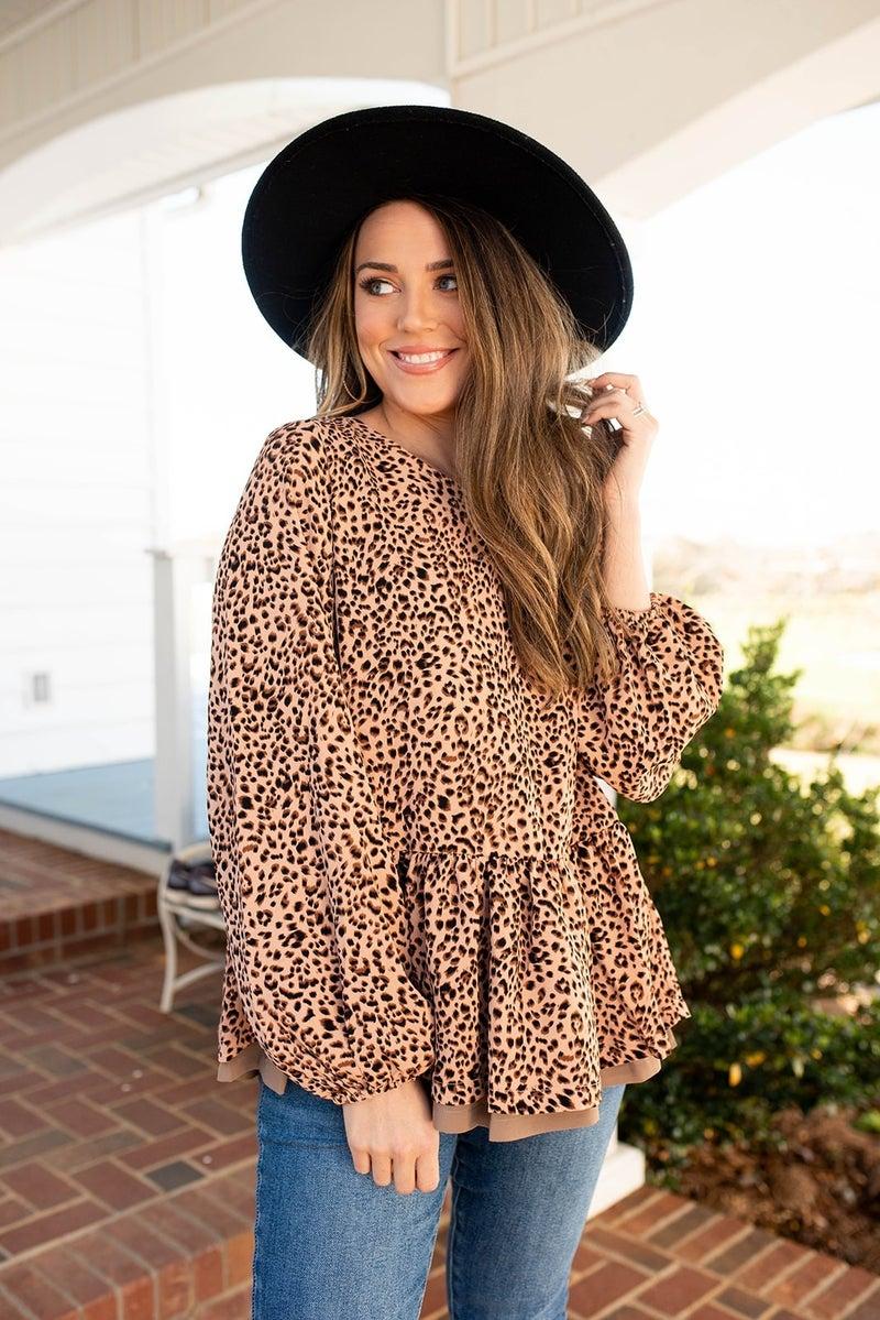 Cheetah & Ruffle Top
