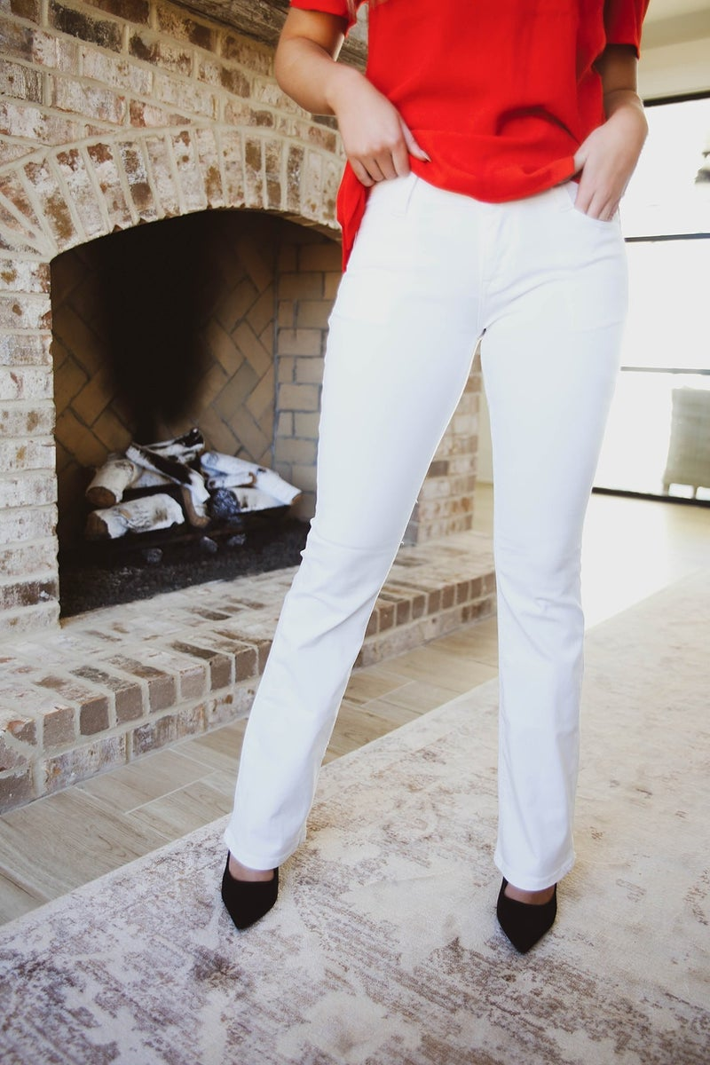 The Emory Mid-Rise Flare White Jeans