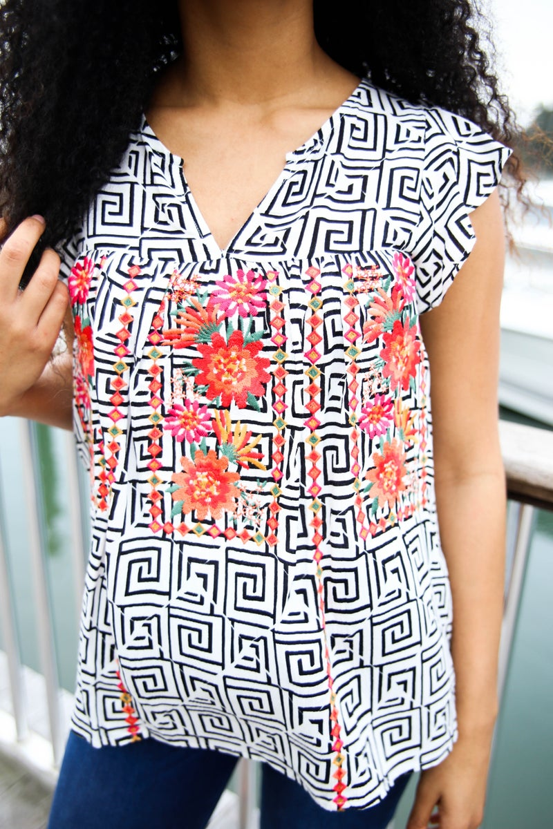 Lizzy's Embroidered Aztec Top