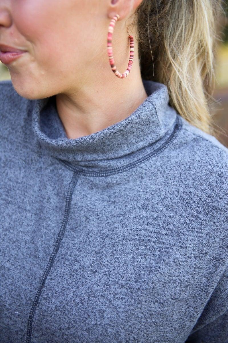 Natural Beauty Beaded Hoop Earrings