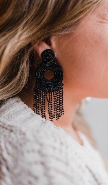 Bead Circle & Crystal Tassel Earrings