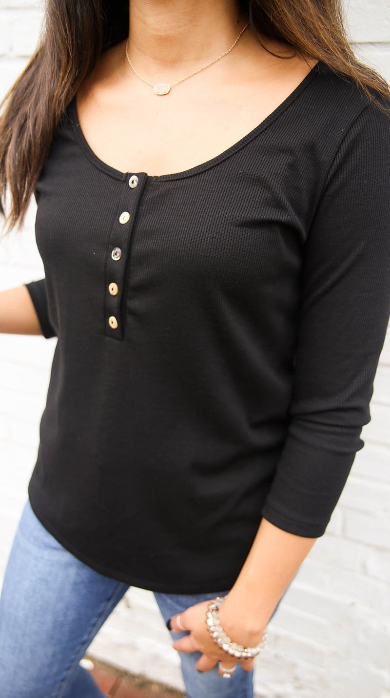 Buttoned Up in Basic Top