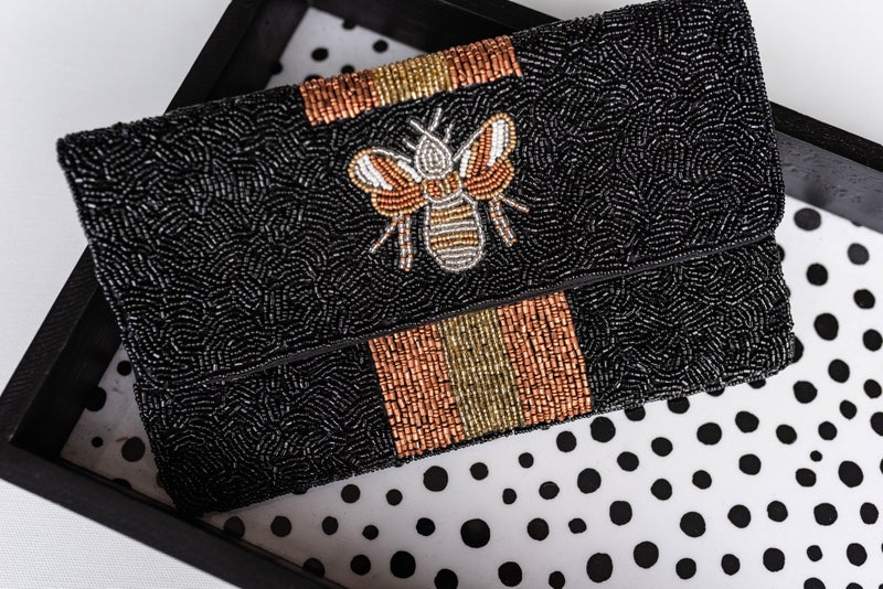 Black + Gold Bee Bag