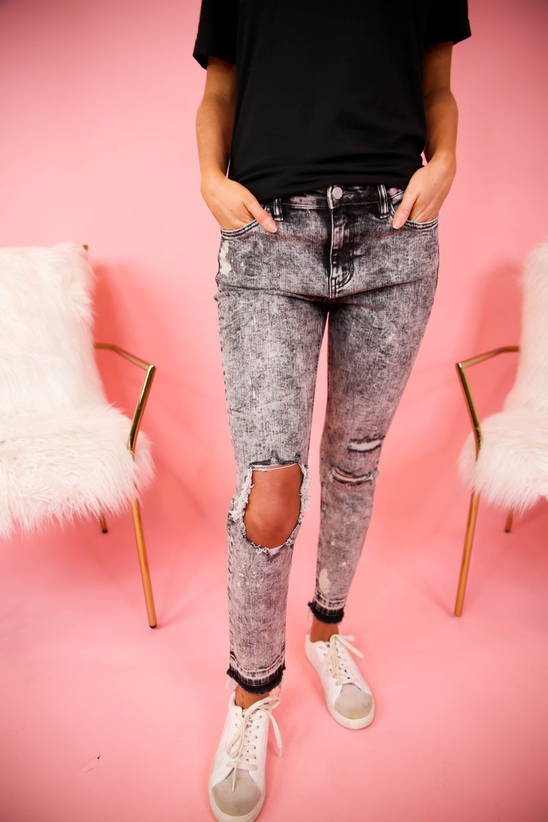 My Edgy Mid-Rise Grey Cropped Jeans