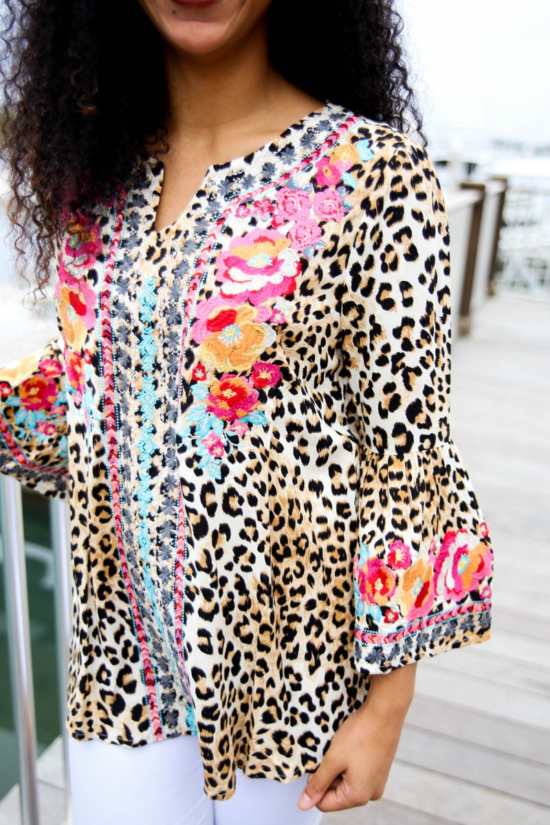 Sweet Emotion Cheetah Embroidered Top