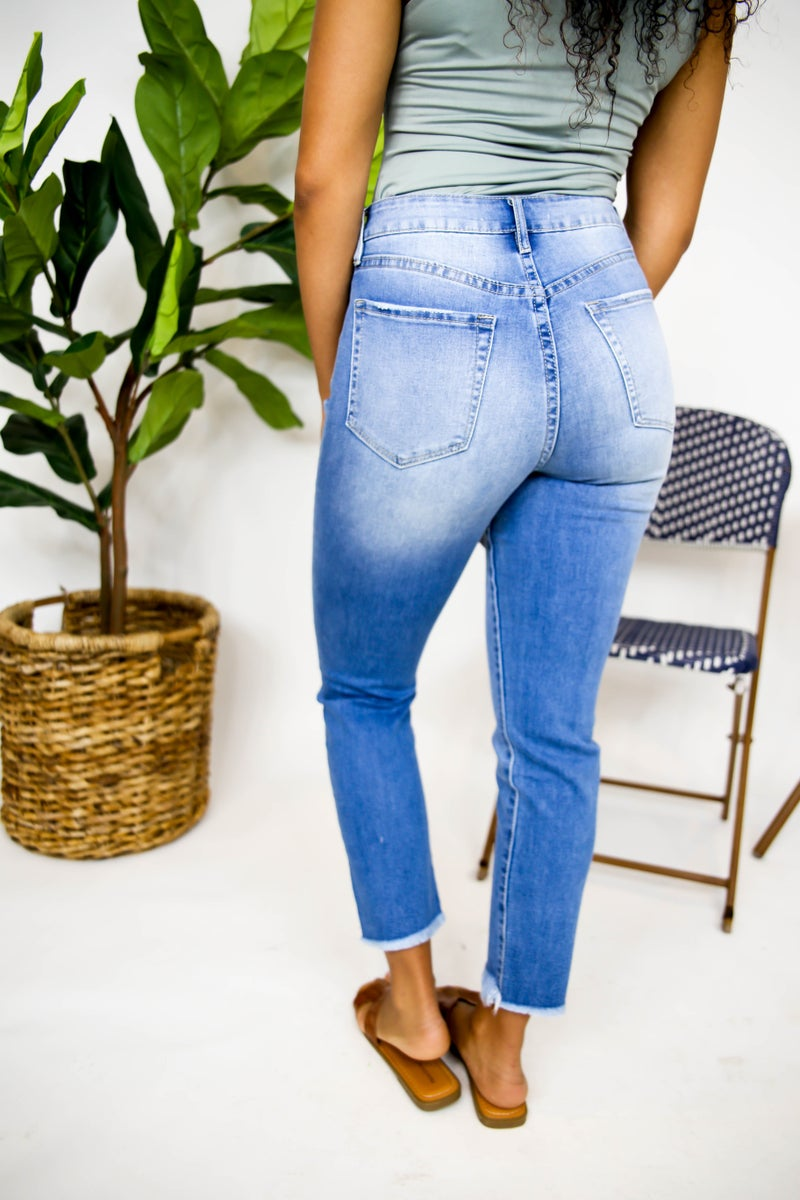 High Rise Distressed YMI Jeans