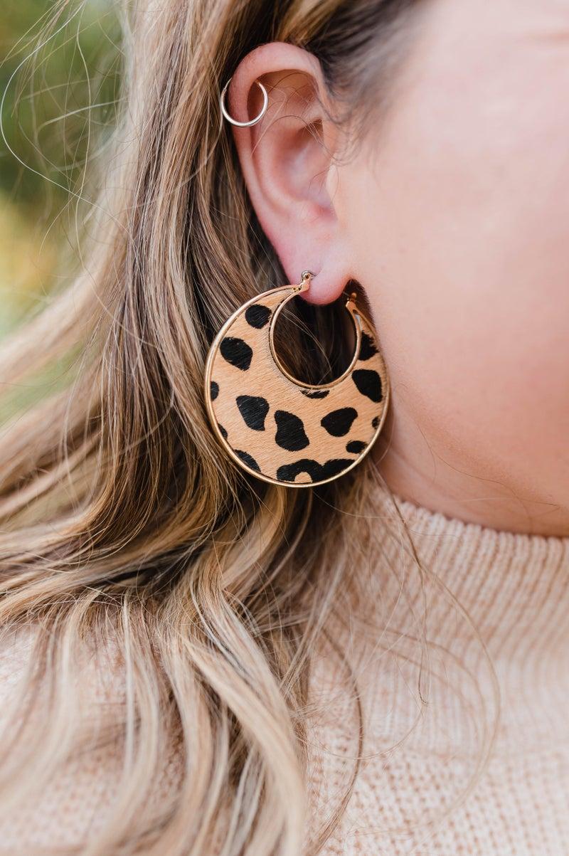 Leopard Disc Earrings