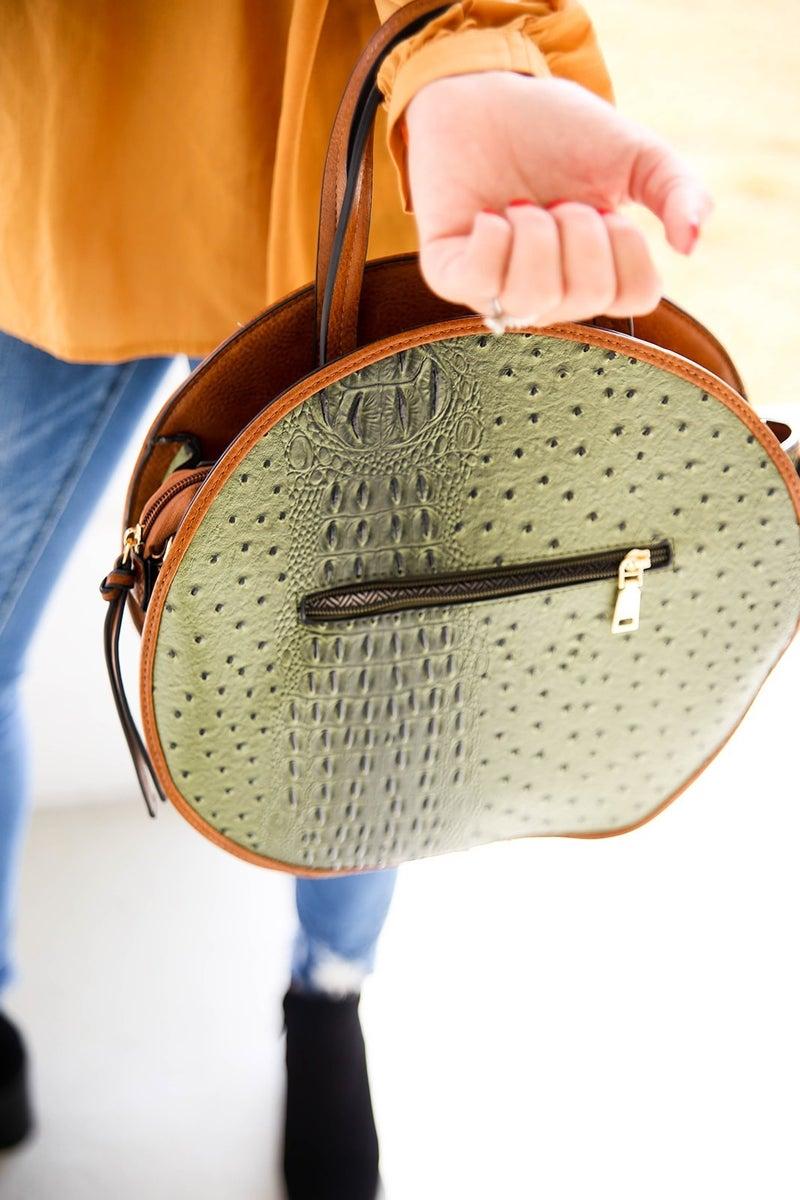 Designer Inspired Olive Ostrich Handbag