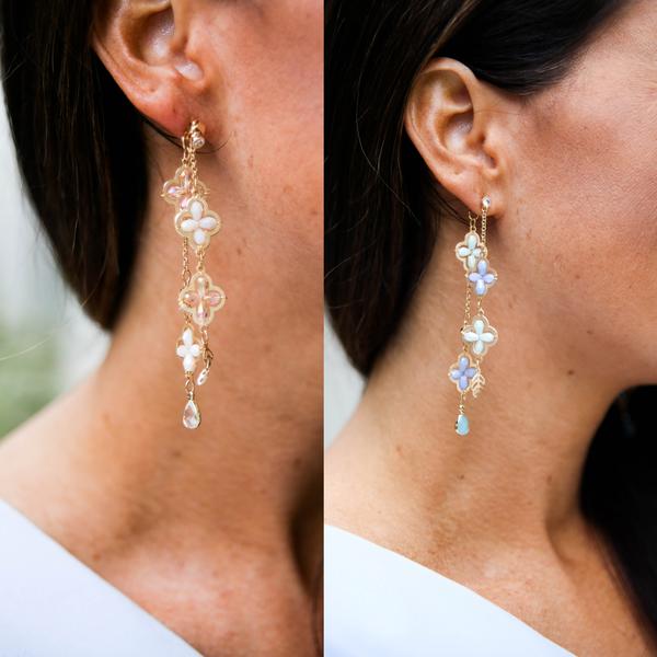 Flower Bead Pendant Earrings