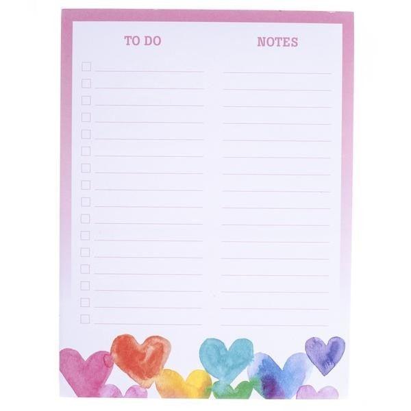 Rainbow Hearts Notepad