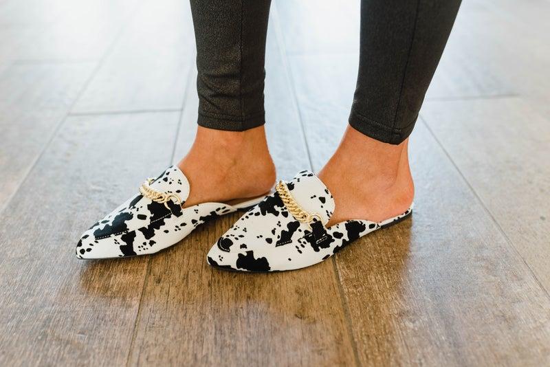 High Fashion Cow Print Mule