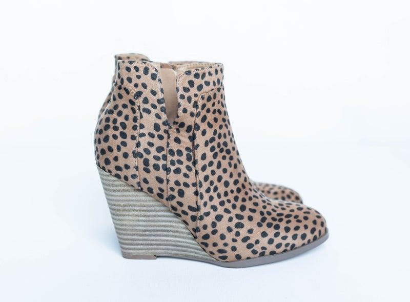 Cheetah Wedge Booties