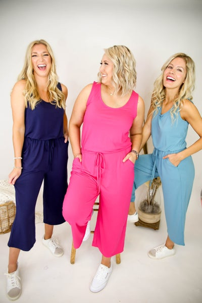 Jump Into Spring Jumpsuit - Hot Pink Deal