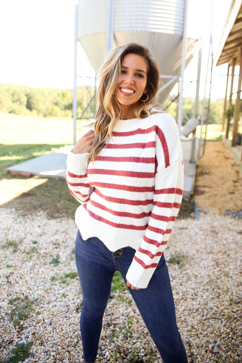 Scalloped in Stripes Sweater