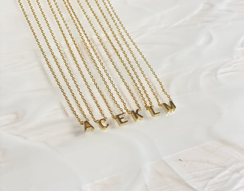 Gold Dipped Brass Initial Necklace