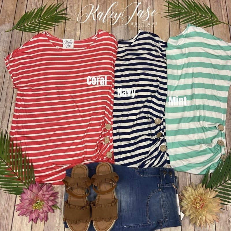 Striped Button Side SS Top