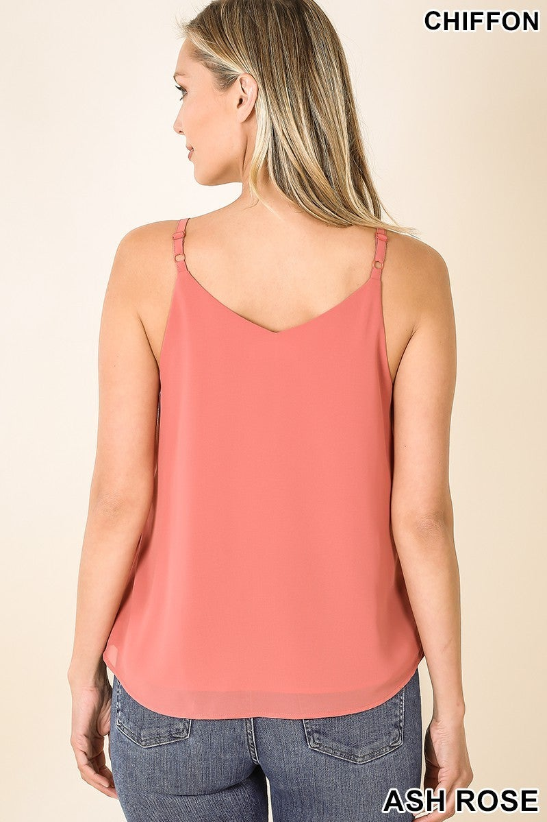 Z Side Button Draped V Tank