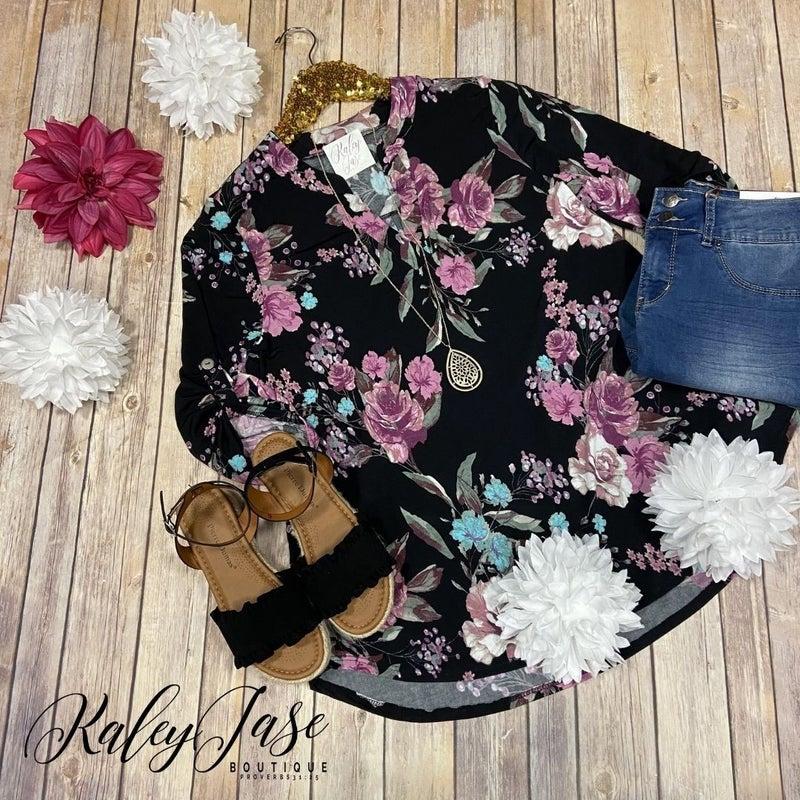 WB Black Floral Vera Top