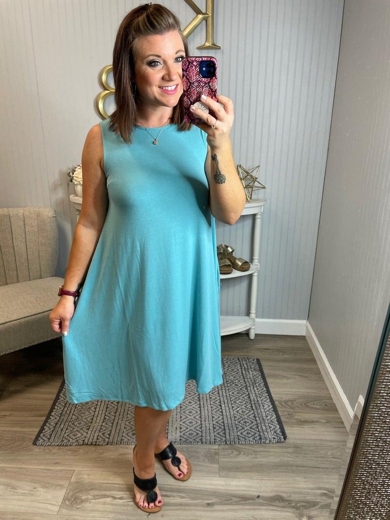Z Scoop Sleeveless Swing Dress