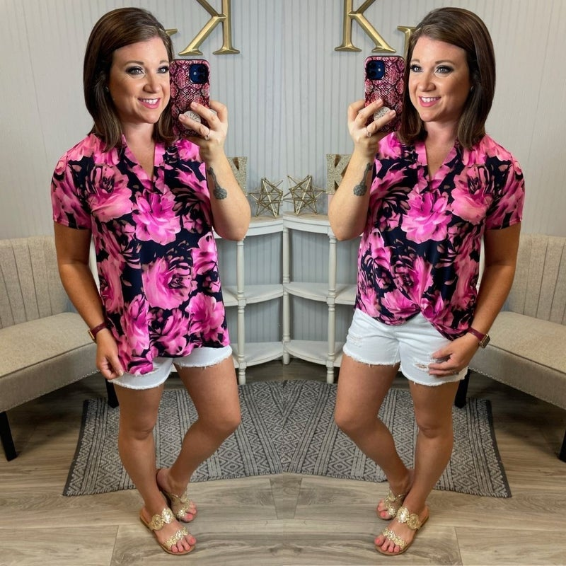 SIL Navy Magenta Floral SS Gabby Top