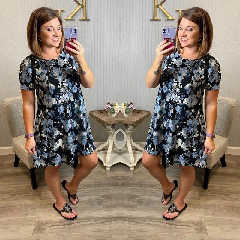 Black/ Ivory Blue Floral Dress