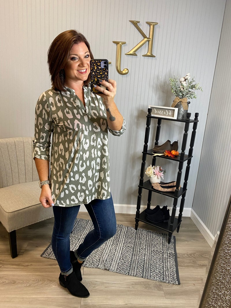 Taupe Ivory Leopard Gabby Top
