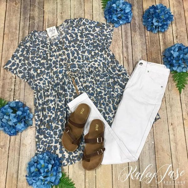 Mocha Blue Leopard Babydoll Top