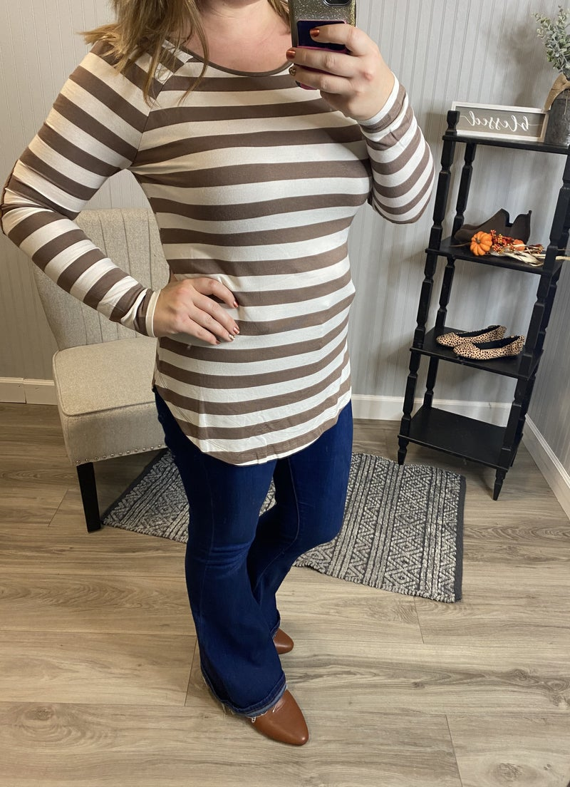 Z Striped LS with Elbow Patch