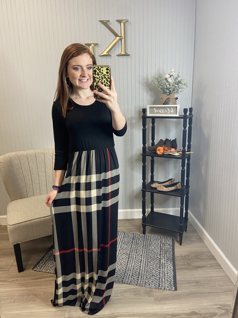 Black Plaid Bottom Maxi